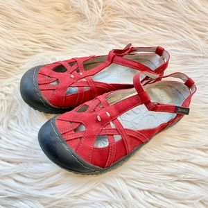 Jambu Shoes - Jambu Red T-Strap Mary Jane Sandals Sz 7